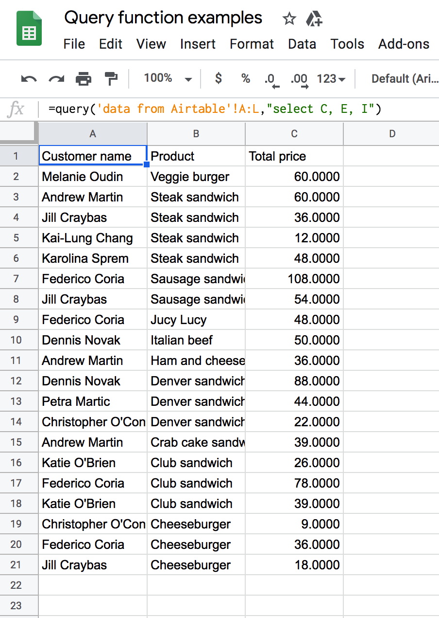 Google Sheets Query Select several columns