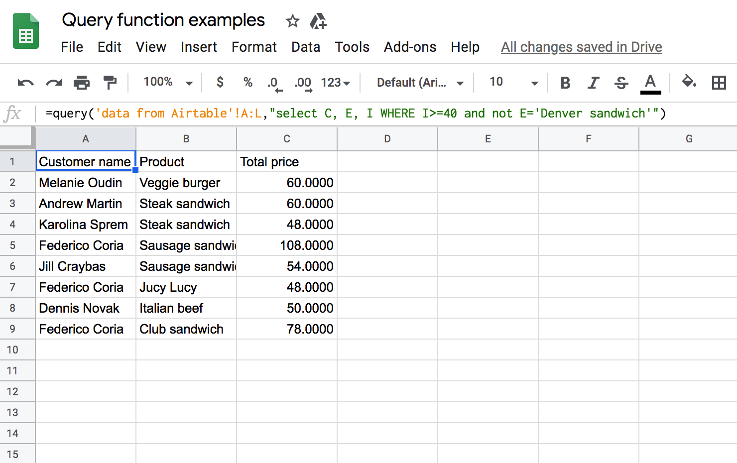 Usage of Google Sheets Where combined conditions