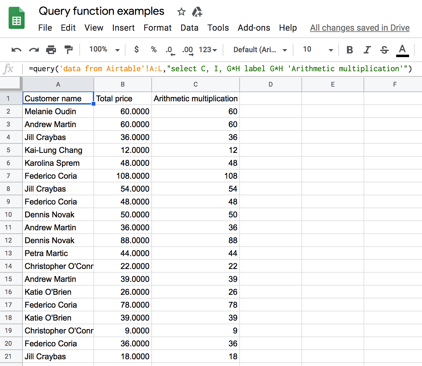 Usage of Google Sheets Query arithmetic operators