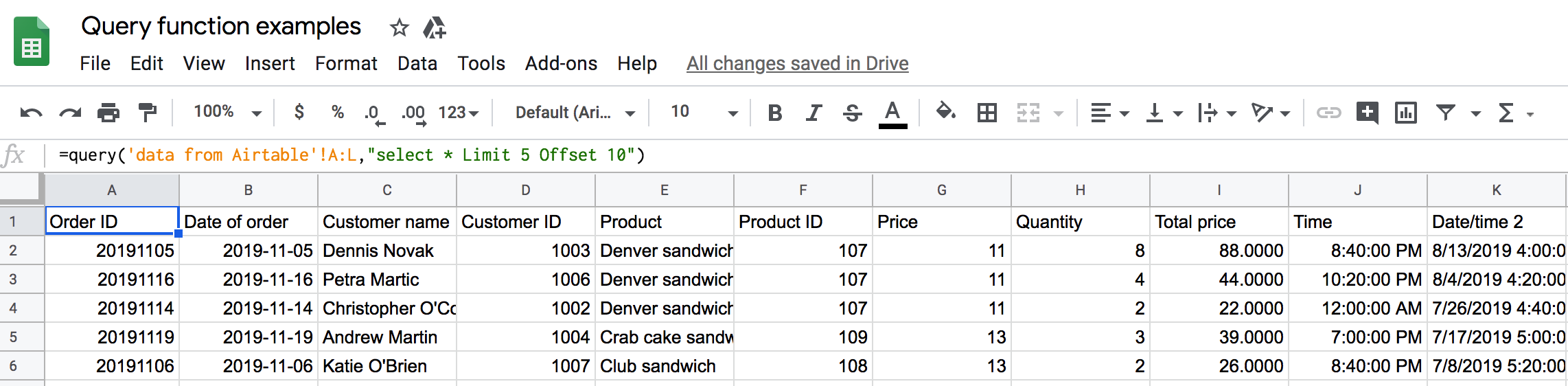 Usage of Google Sheets Query OFFSET accompanied by LIMIT