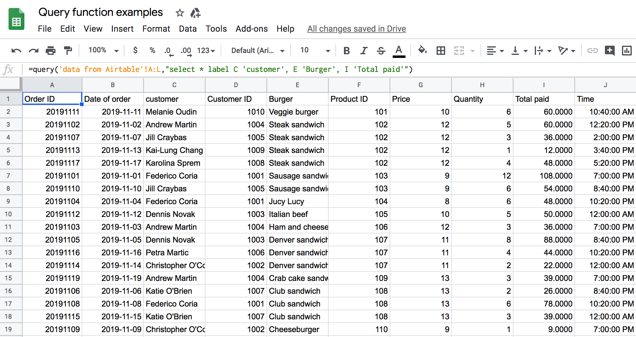 Usage of Google Sheets Query LABEL