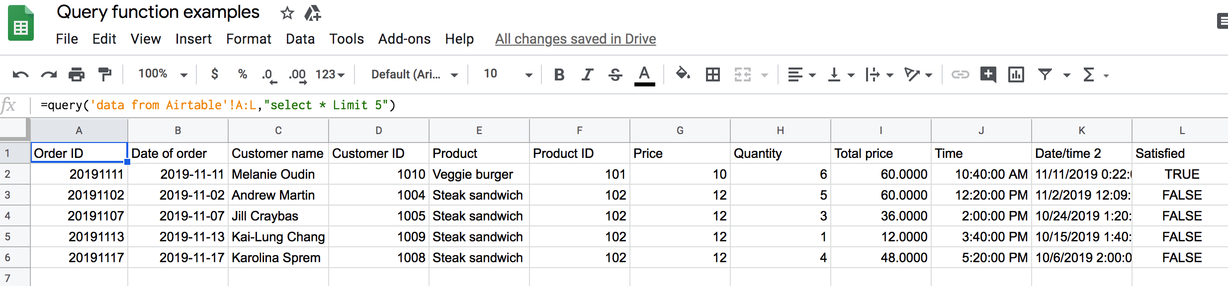 Usage of Google Sheets Query LIMIT clause