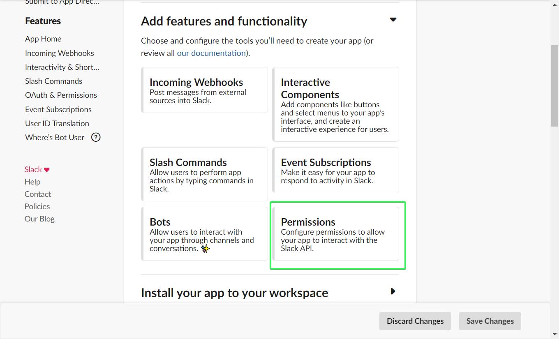 Configure Permissions for your Slack app