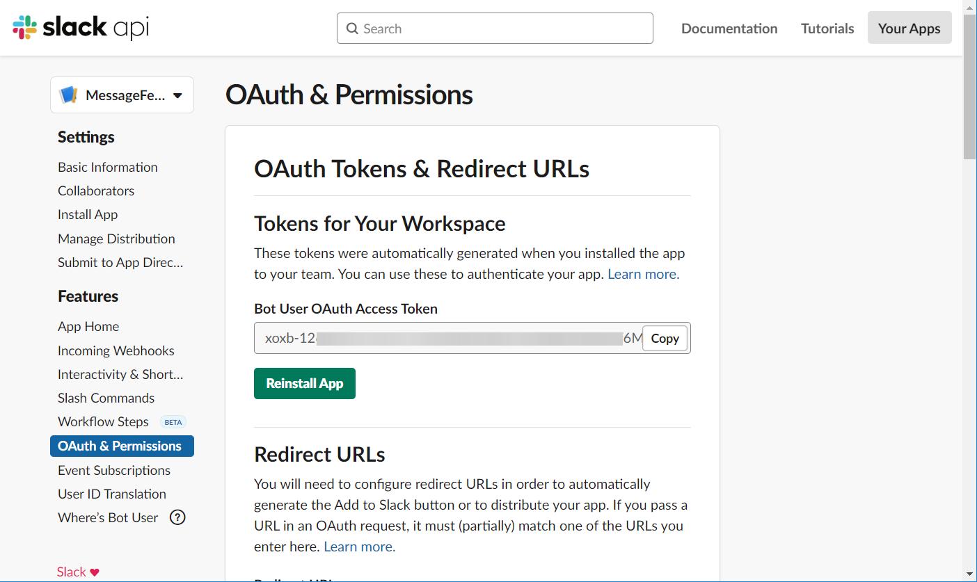 Bot User OAuth Access Token