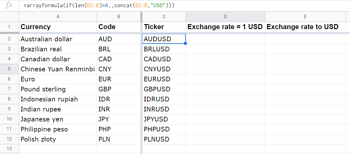 How to merge text values in a column with CONCAT + ARRAYFORMULA