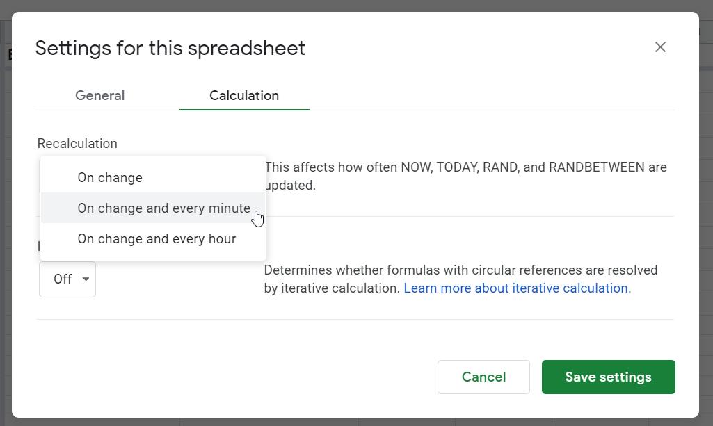 Set every minute refresh for GoogleFinance formula