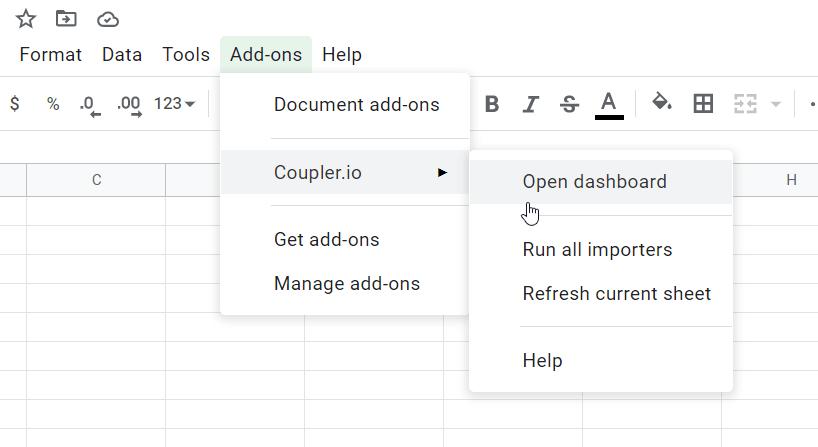Coupler.io on the Add-ons menu