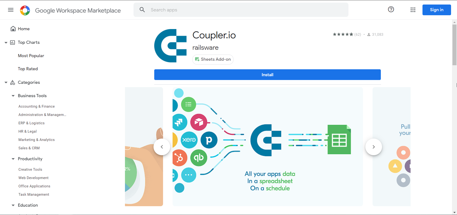 Coupler.io on Google Workspace Marketplace