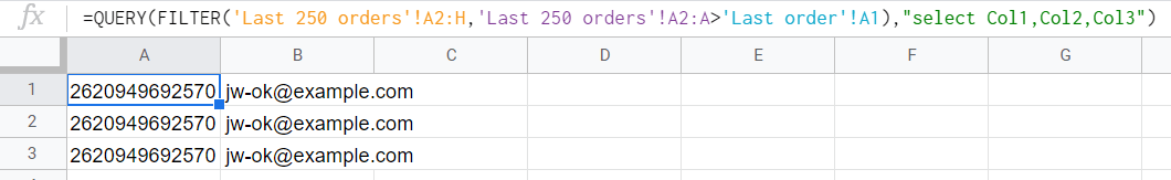 QUERY and FILTER formula to fetch only new orders