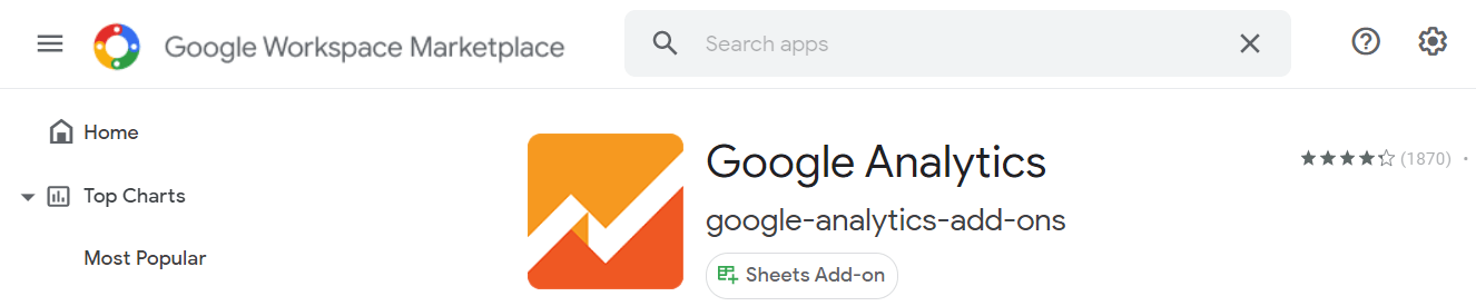Add-on to pull Google Analytics data into Google Sheets