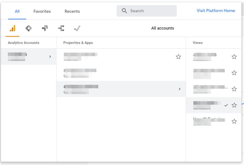 Google Analytics dashboard All accounts
