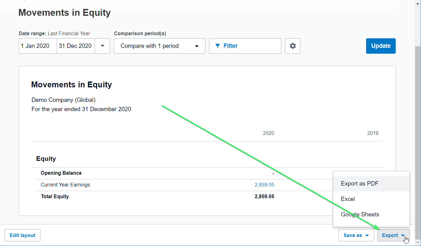 Export Movements in Equity from Xero