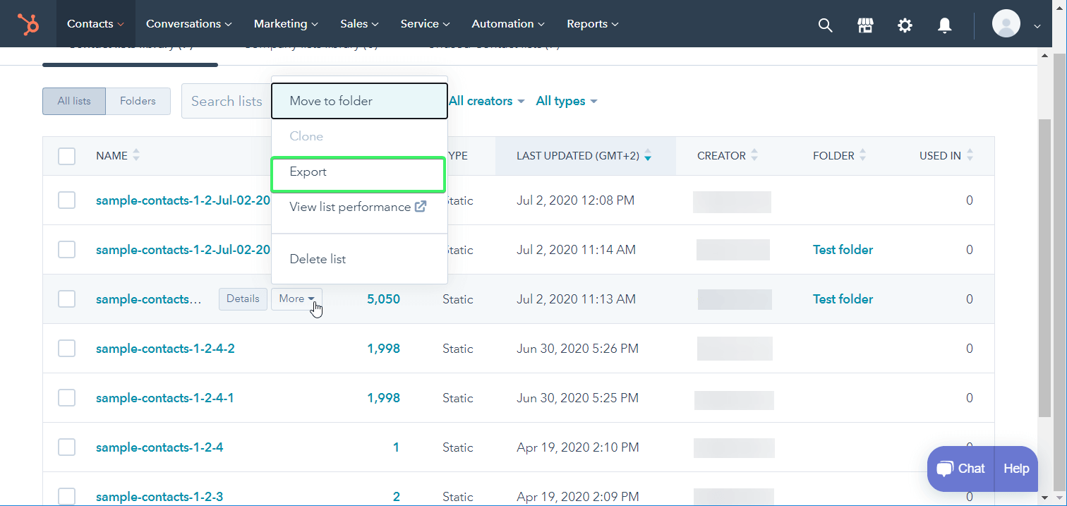 Export list of contacts data from HubSpot
