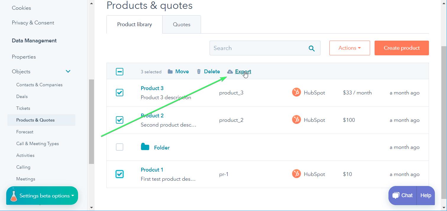 HubSpot products data export
