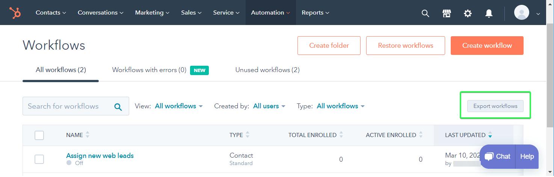 Export workflows as CSV