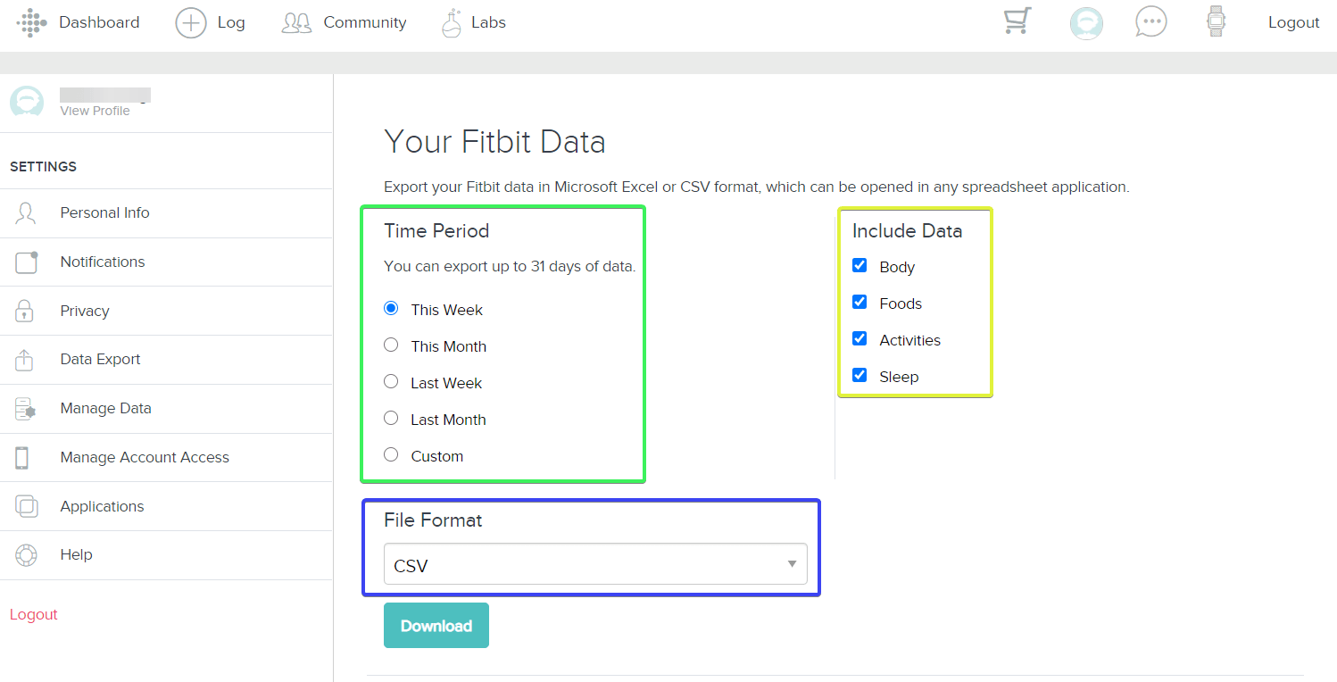 Select your Fitbit data to export
