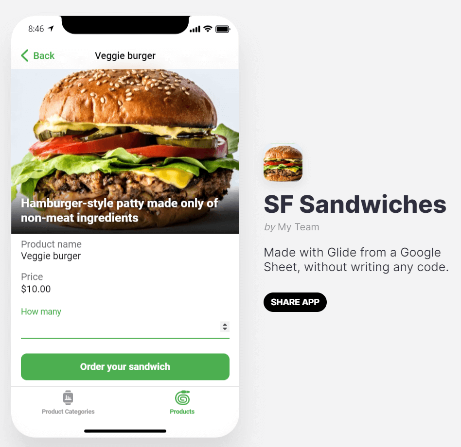 Sandwich sales app in Glide
