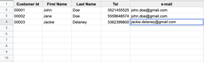 insert the data in a new row