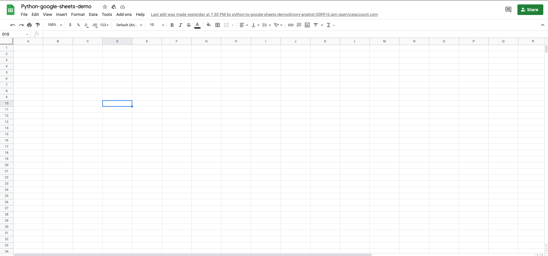 Google Sheets file created with Python