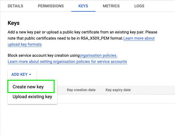 "Select ""Add Key"" => ""Create new key"""