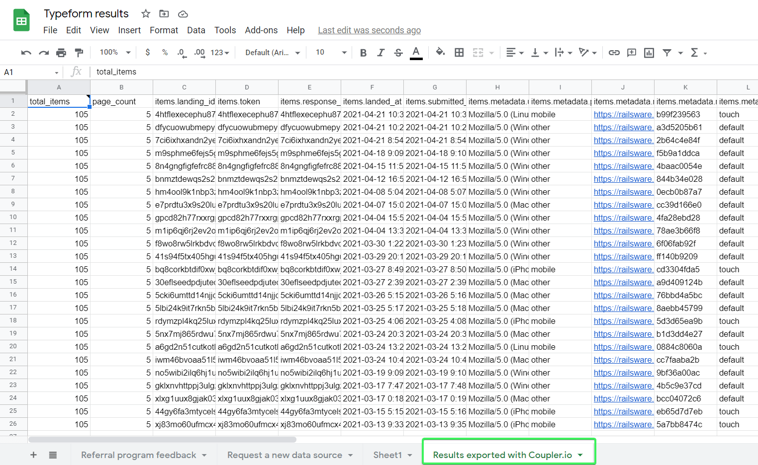 Typeform responses exported to Google Sheets