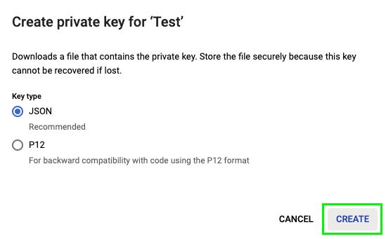 Create a JSON private key
