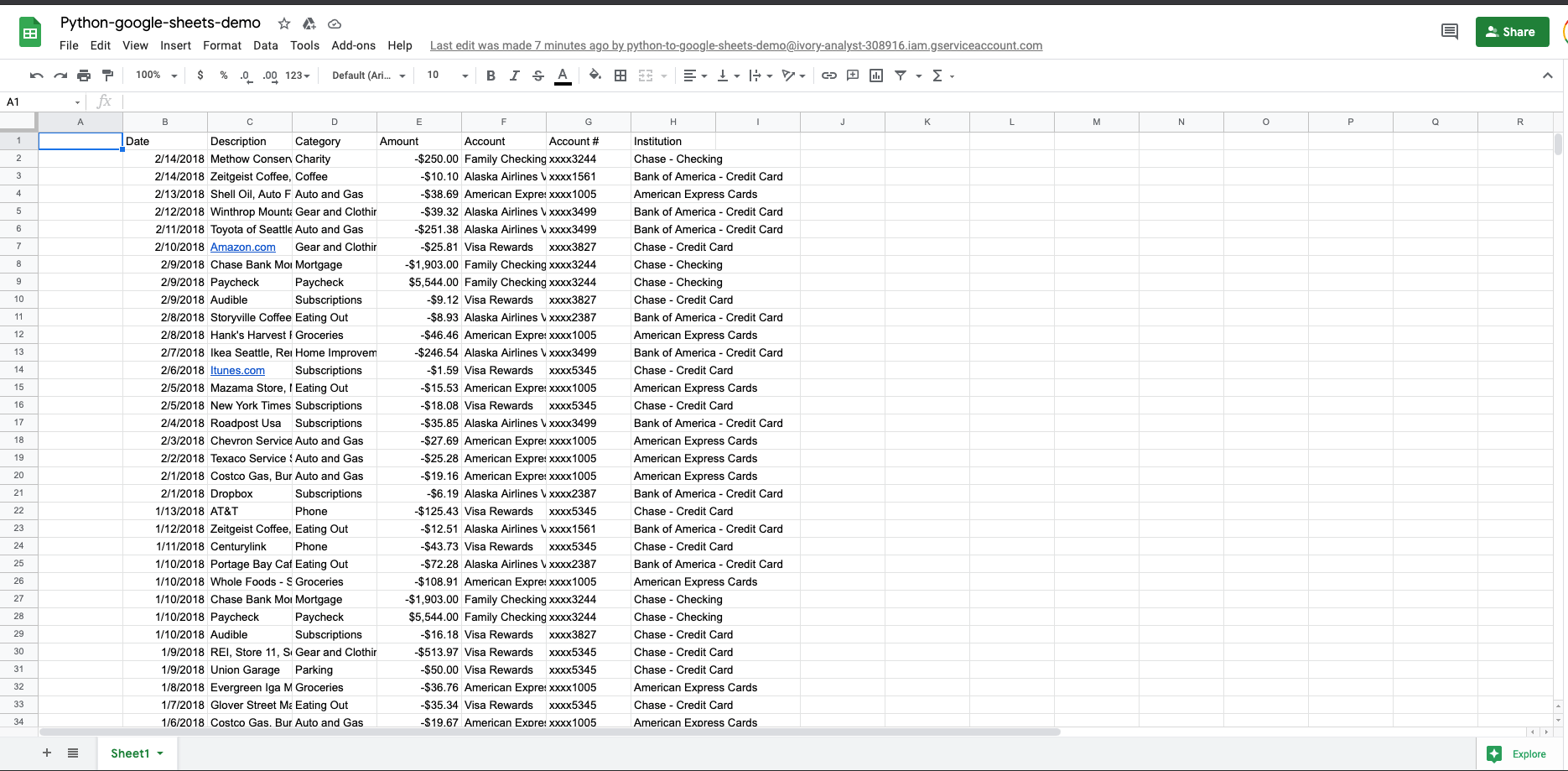 Export multiple ranges to Google Sheets with Python