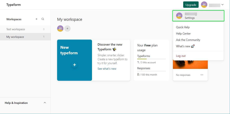 Typeform Settings