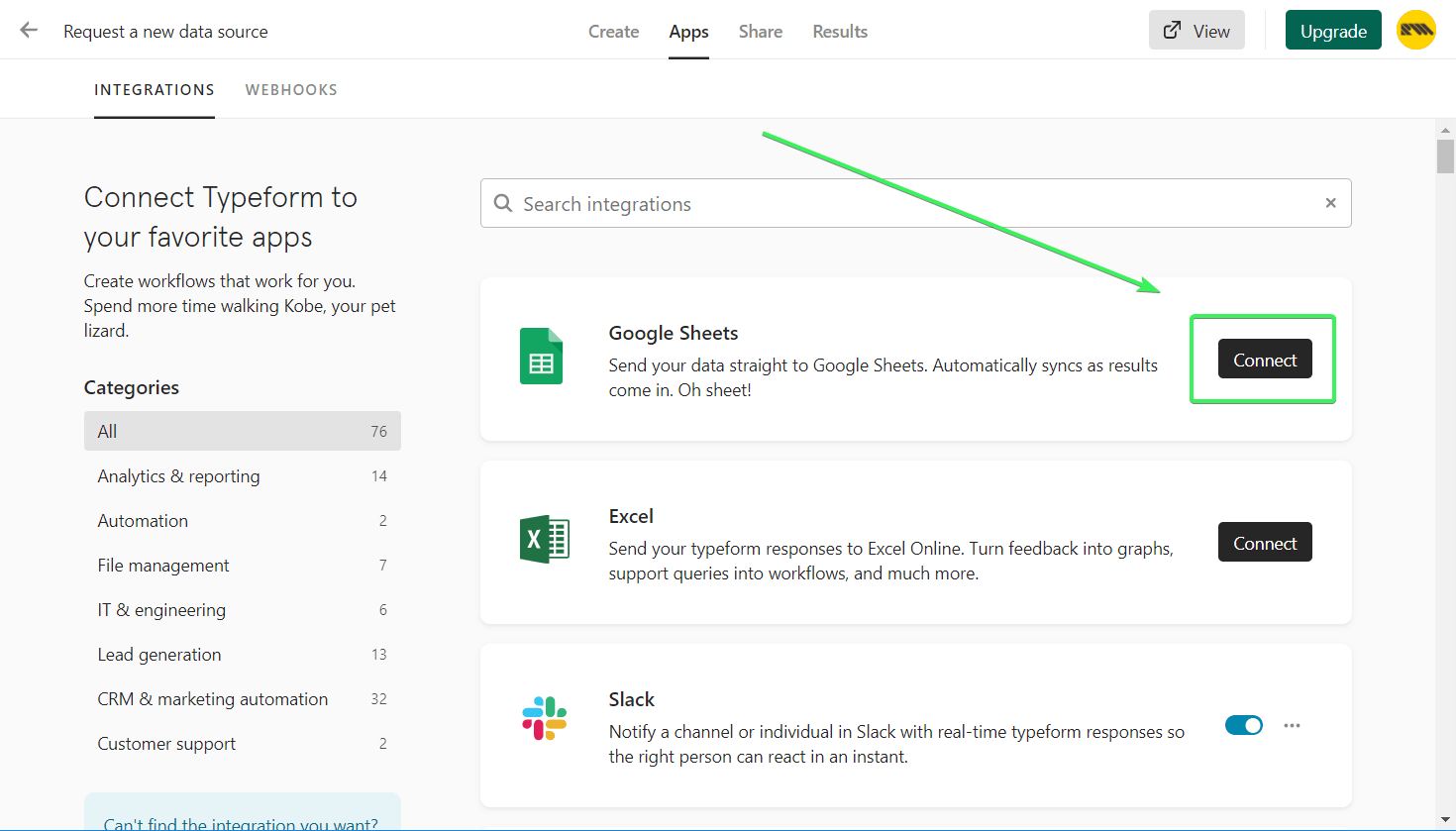"""click the """"Connect"""" button associated with Google Sheets"""