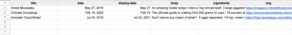 a simple way to structure your spreadsheet to have all the important information