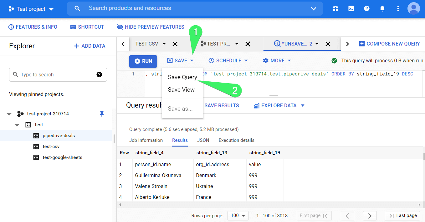 How to save queries in BigQuery
