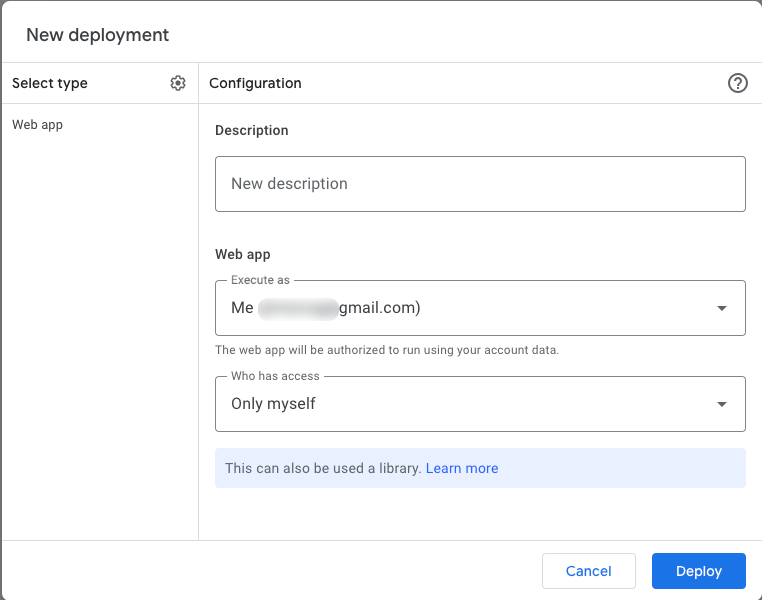 """Give a description to your app, leave the other fields as they are, and click """"Deploy"""""""