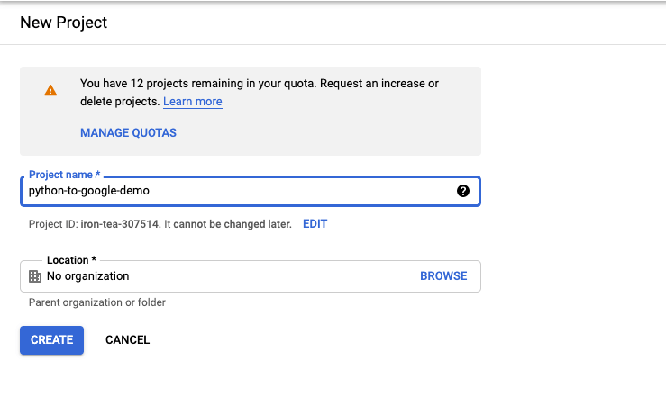 """Fill in the required fields and click on """"Create"""""""