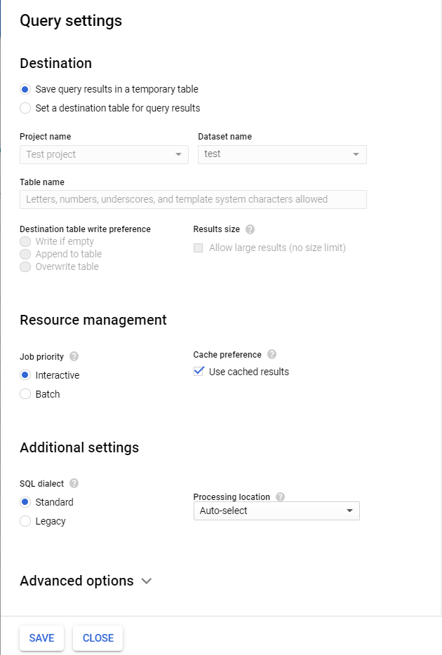 Query Settings