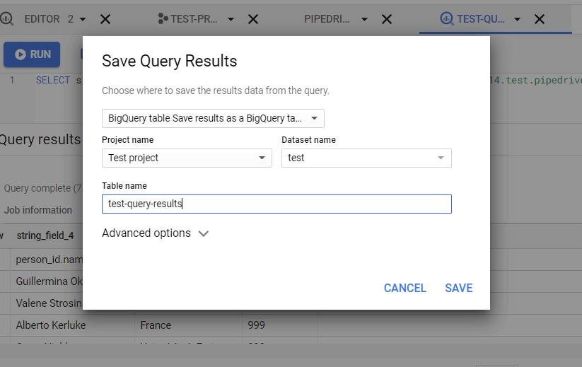 Save query as a BigQuery table