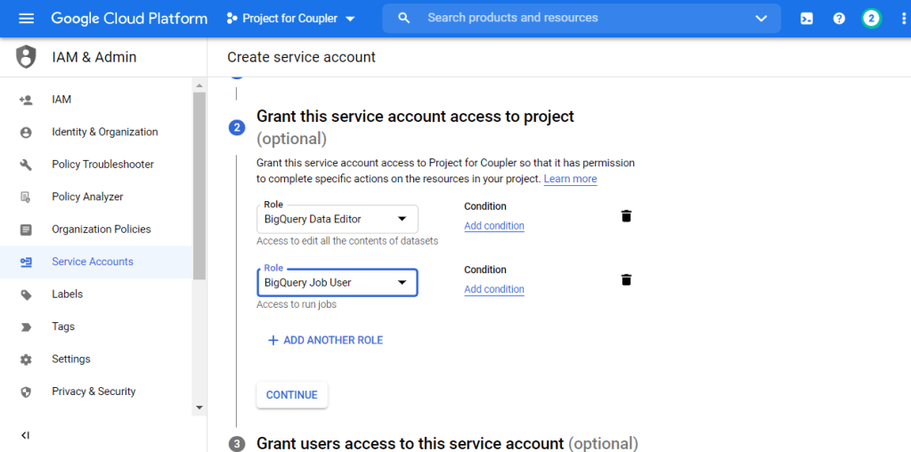 You must create a service account with two roles: BigQuery Data Editor and BigQuery Job User.