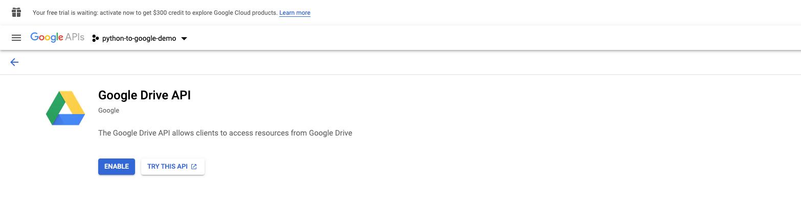 Enable Google Drive API and Google Sheets API