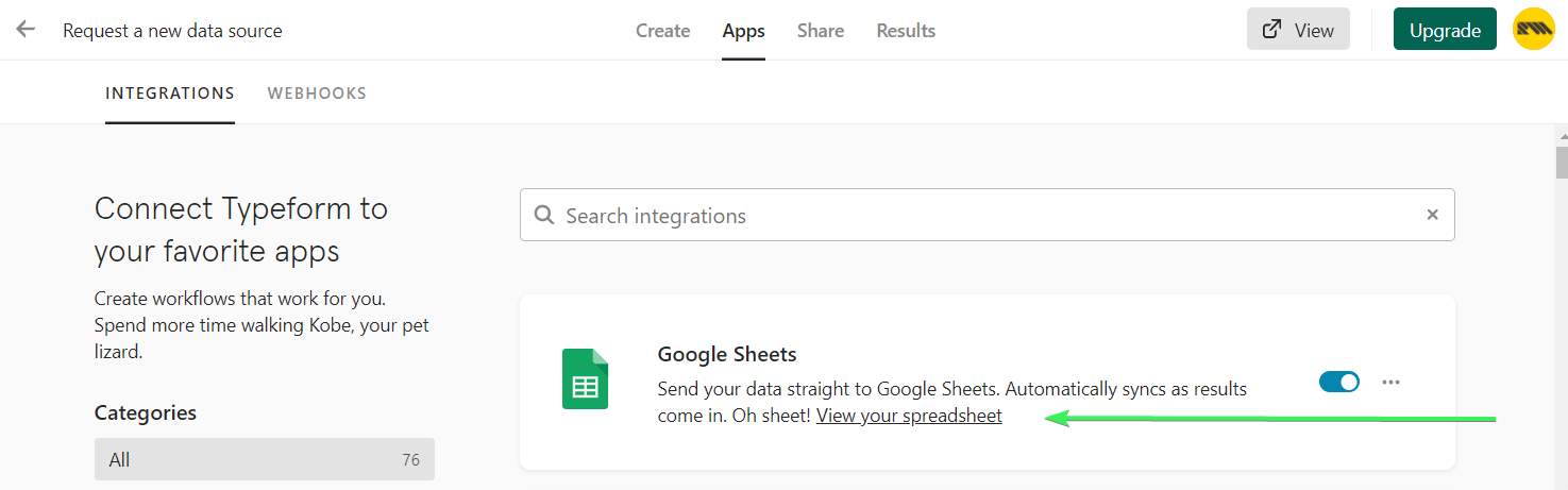 View your spreadsheet