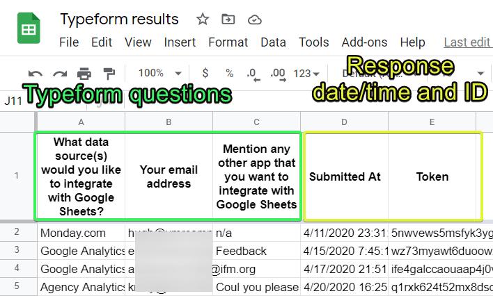 Typeform responses in Google Sheets