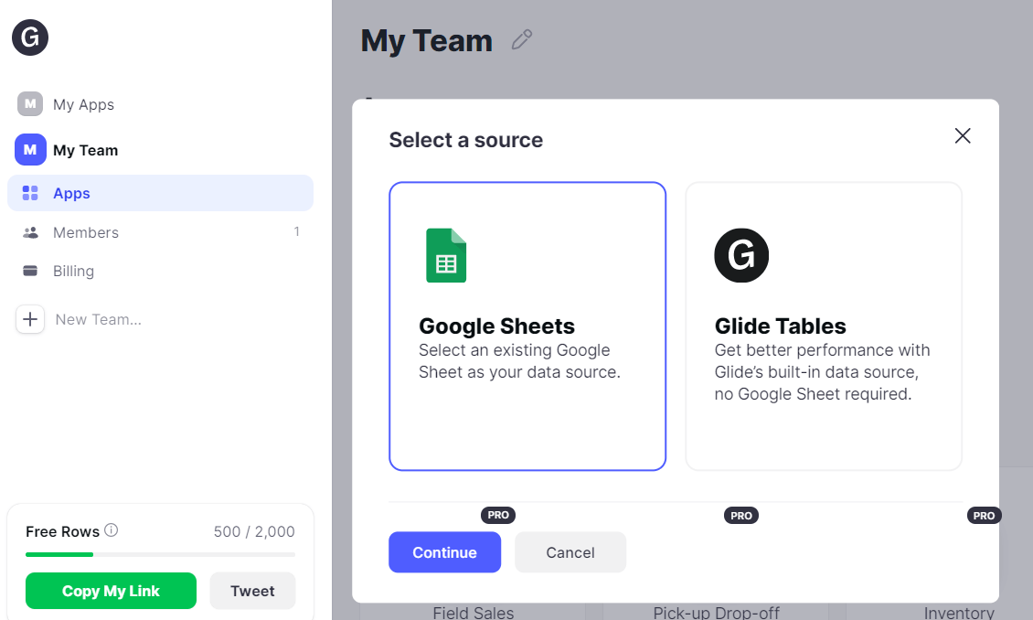 select Google Sheets as a source