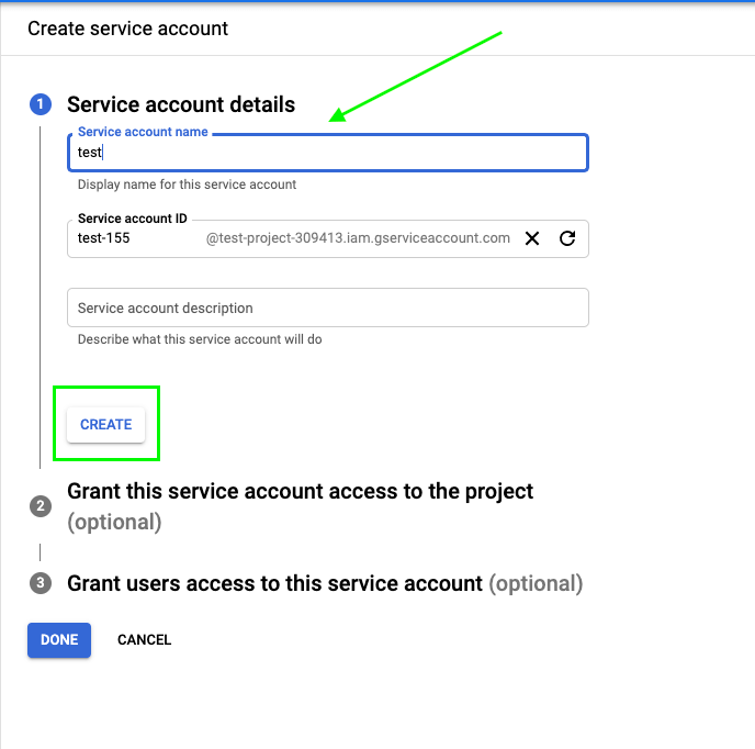 """Give a name to the service account and click """"Create"""""""
