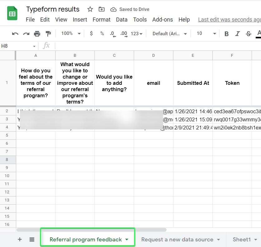 Multiple Typeforms in a single spreadsheet