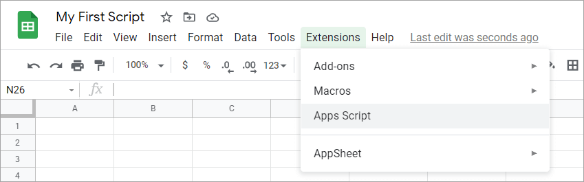 Opening the Google Apps Script editor