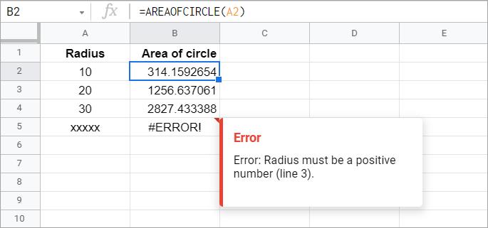 A custom Google Apps Script numeric function