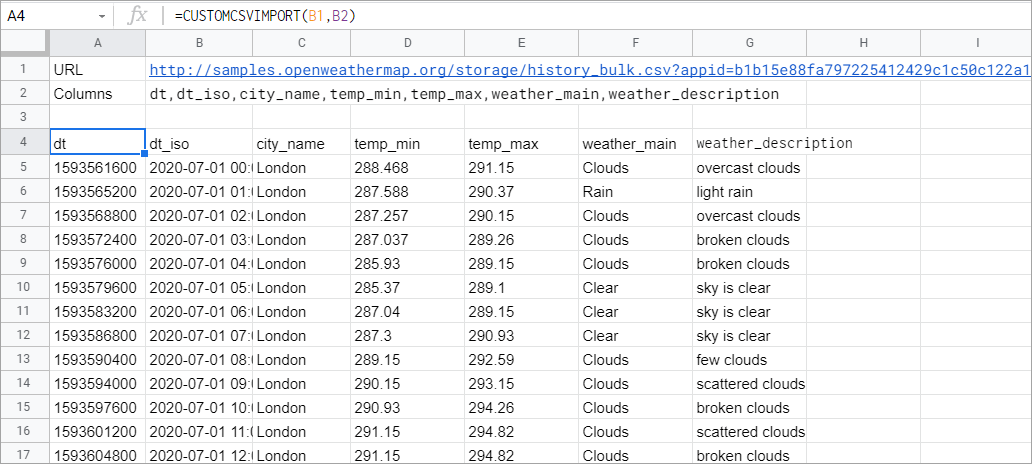 A custom Google Apps Script function for importing CSV data