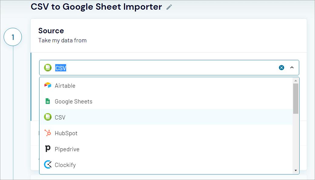 Coupler.io data source list