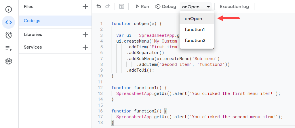 A custom menu code within the onOpen() function