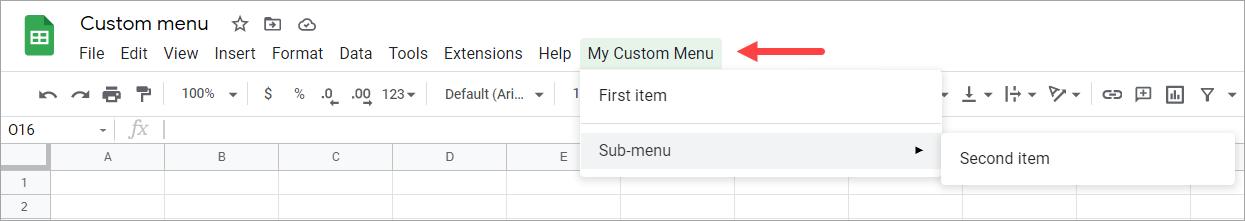 A custom menu in Google spreadsheet
