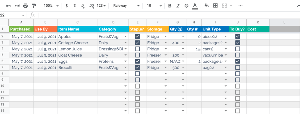 Simple food inventory template in Google Sheets