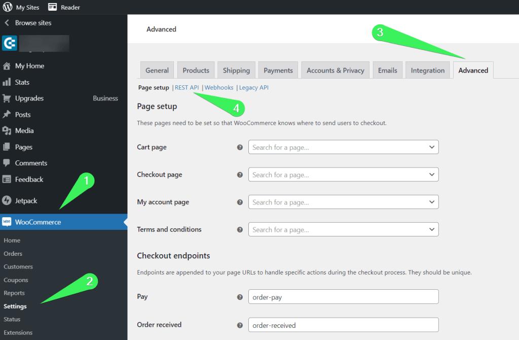 WooCommerce => Settings => Advanced => REST API